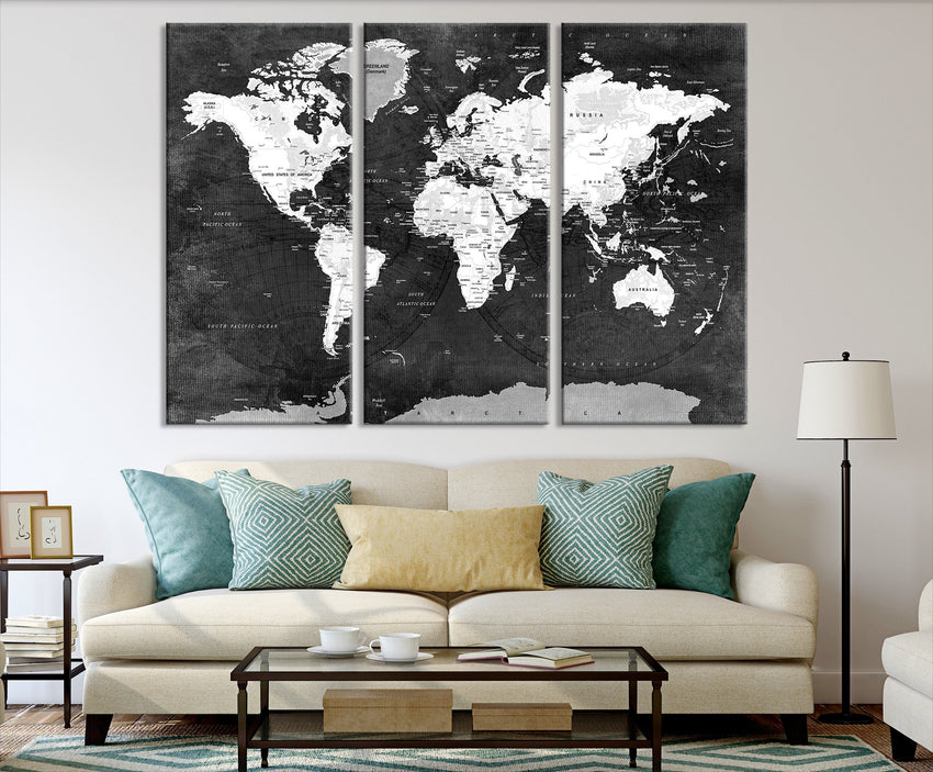 N14469 - Large Black and White Wall Art World Map Map Push Pin Canvas Print - Ready to Hang-Giclee Canvas Print-World Map Wall Art-3 Panel-Per P. 16x24-Extra Large Wall Art Canvas Print