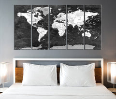 N14469 - Large Black and White Wall Art World Map Map Push Pin Canvas Print - Ready to Hang-Giclee Canvas Print-World Map Wall Art-5 Panel-Per P. 12x32-Extra Large Wall Art Canvas Print