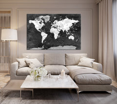 N14469 - Large Black and White Wall Art World Map Map Push Pin Canvas Print - Ready to Hang-Giclee Canvas Print-World Map Wall Art-Single Panel-24x16-Extra Large Wall Art Canvas Print
