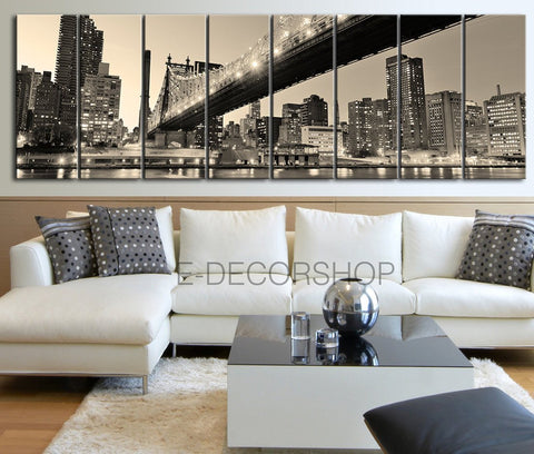 New York City Skyline Black and White Panorama XLarge Canvas Print - Wall Art Skyline Panorama Canvas Print + Brooklyn Bridge-Wall Art Canvas-Extra Large Wall Art Canvas Print-Extra Large Wall Art Canvas Print
