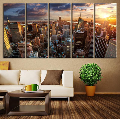 New York Sundown Canvas Art Print, Large Wall Art City Landscape Art, Extra Large Cityscape Big Apple New York Wall Art Print-Wall Art Canvas-Extra Large Wall Art Canvas Print-Extra Large Wall Art Canvas Print