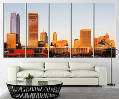 Oklahoma City at Sunrise and Urban Buildings Wall Art Print - Oklahoma Sondown Large Canvas Print-Wall Art Canvas-Extra Large Wall Art Canvas Print-Extra Large Wall Art Canvas Print