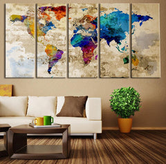 Old Paper Watercolor World Map Wall Art Canvas Print, No:067-Wall Art Canvas-Extra Large Wall Art Canvas Print-Extra Large Wall Art Canvas Print