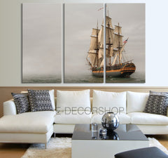 Old Wood Ship Canvas Print - Battleship Canvas - 3 Panel Historic Wooden Sailing Warship Wall Art Canvas - MC145-Extra Large Wall Art Canvas Print