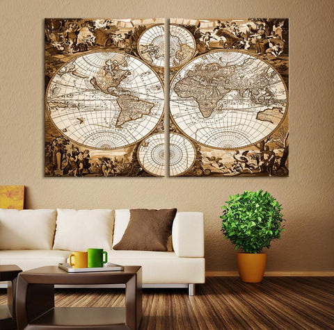 Old World Map Canvas Print, Retro Watercolor World Map Canvas Print, Vintage Map Art Print, 2 Panel Brown Retro World Map Wall Art Print-Wall Art Canvas-Extra Large Wall Art Canvas Print-Extra Large Wall Art Canvas Print