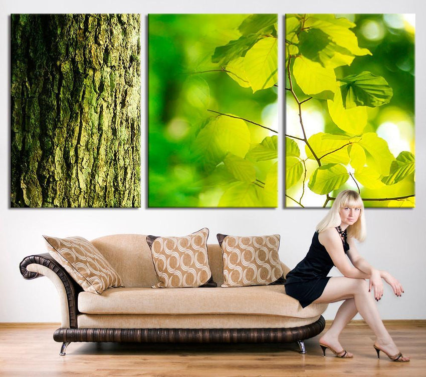 Oversize Art PRINT - Spring Nature Forest Landscape Canvas Print - Leaves Large Wall Art Canvas Print - 3 Panel Large Canvas for Wall Decor-Wall Art Canvas-Extra Large Wall Art Canvas Print-Extra Large Wall Art Canvas Print