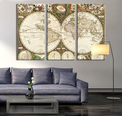 Oversize Canvas Art Prints- Vintage World Map Art Canvas Print, World Map Wall Art, Vintage Old World Map Canvas Print, World Map Wall Art-Wall Art Canvas-Extra Large Wall Art Canvas Print-Extra Large Wall Art Canvas Print