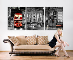 Oversize City Wall Art Canvas Print - London Night and Red Bus Wall Art Canvas Print - 3 Panel Large Wall Art Canvas Printing-Wall Art Canvas-Extra Large Wall Art Canvas Print-Extra Large Wall Art Canvas Print