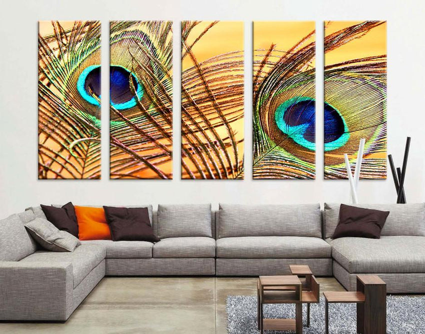 Oversize Large Wall Art Peacock Feather Canvas Print - Wall Art Peacock Feather Canvas Print - Large Art Peafowl Wall Canvas Print-Wall Art Canvas-Extra Large Wall Art Canvas Print-Extra Large Wall Art Canvas Print