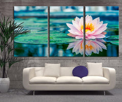 Oversize Wall Art - Lotus Flower in Lake Canvas Print - Lily Flower Large Wall Art Canvas Print - 3 Panel Large Canvas for Wall Decor - MC35-Wall Art Canvas-Extra Large Wall Art Canvas Print-Extra Large Wall Art Canvas Print