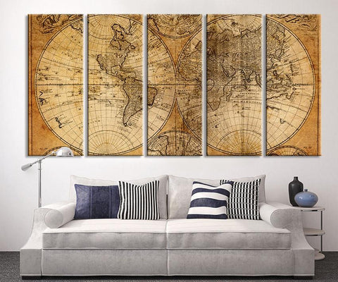Oversized Canvas Art Prints - Vintage World Map Canvas Print, X Large Art Vintage World Map, Extra Large Brown Old World Map Print - MC243-Wall Art Canvas-Extra Large Wall Art Canvas Print-Extra Large Wall Art Canvas Print
