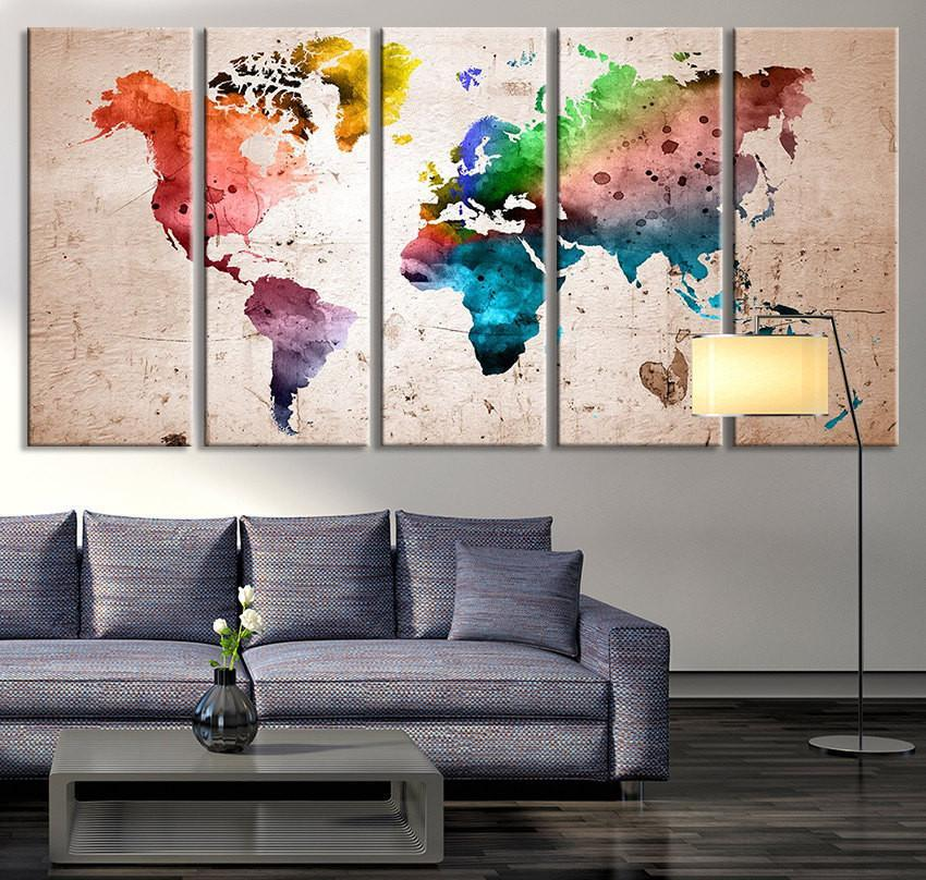 Oversized Canvas Art Prints - World Map Canvas Art Print, Large Wall Art  World Map Art, Watercolor World Map Print for Wall Decoration - MC187