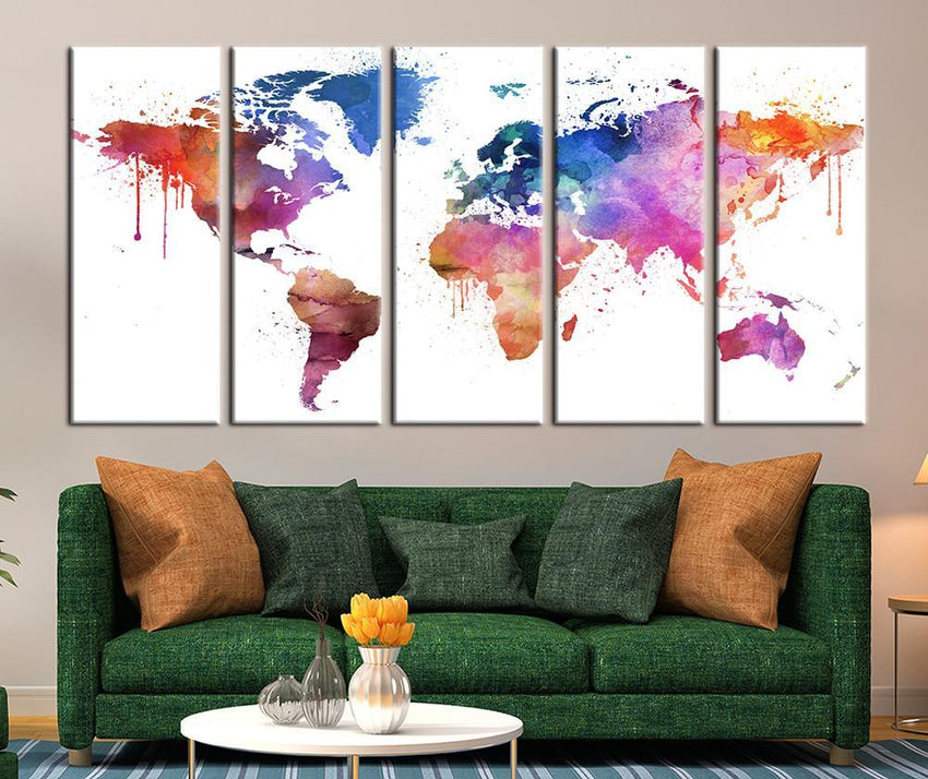 Pastel Colors Watercolor World Map Canvas Art, Pinky World Map Print for Home Decor No:034-Wall Art Canvas-Extra Large Wall Art Canvas Print-Extra Large Wall Art Canvas Print