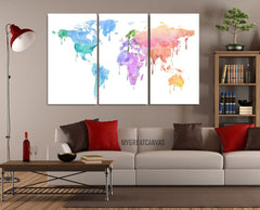 Pastel Colors WORLD MAP Canvas Print - 3 Panel Canvas Art Print - Ready to Hang - Colorful Watercolor World Map-Wall Art Canvas-Extra Large Wall Art Canvas Print-Extra Large Wall Art Canvas Print