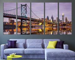 Philadelphia Ben Franklin Bridge Skyline Large Wall Art Canvas Print, Extra Large Skyline Philadelphia Wall Art Print - MC100-Wall Art Canvas-Extra Large Wall Art Canvas Print-Extra Large Wall Art Canvas Print