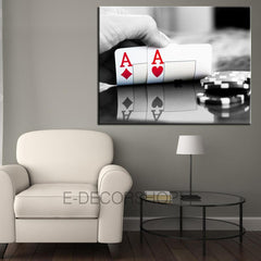 Poker and Casino - Spades - Ace - Cup - Flies Canvas Print | Art Canvas Print | Canvas Painting-Wall Art Canvas-Extra Large Wall Art Canvas Print-Extra Large Wall Art Canvas Print