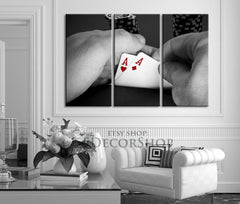 Poker Cards Canvas Art Print - Playing Cards Art Canvas Print - Framed Gallery Wrap Large Wall Art-Wall Art Canvas-Extra Large Wall Art Canvas Print-Extra Large Wall Art Canvas Print