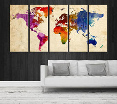 Purple Blue World Map Canvas Art Print, Large Wall Art World Map Art, Extra Large Watercolor World Map Print for Wall Decoration-Wall Art Canvas-Extra Large Wall Art Canvas Print-Extra Large Wall Art Canvas Print
