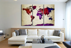 Purple Predomanantly Colorful World Map Canvas Print - Contemporary 3 Panel Triptych Colorful Rainbow Colors Large Wall Art-Wall Art Canvas-Extra Large Wall Art Canvas Print-Extra Large Wall Art Canvas Print