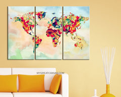 Rainbow Colour Canvas Print WORLD MAP on Watercolor Background - Triptych World Map 3 Piece Canvas Art Print - Colorful Mix World Map-Wall Art Canvas-Extra Large Wall Art Canvas Print-Extra Large Wall Art Canvas Print