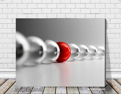 Red and Gray Ball Canvas Prints | Gray Balls Art Canvas | Different Canvas Painting-Wall Art Canvas-Extra Large Wall Art Canvas Print-Extra Large Wall Art Canvas Print