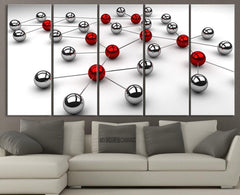 Red and Gray Balls | Art Canvas Print | Wall Art Canvas 5 Panel | Diversity Theme - Connect Canvas-Wall Art Canvas-Extra Large Wall Art Canvas Print-Extra Large Wall Art Canvas Print