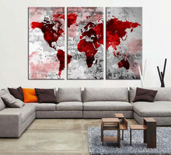 Red Grunge Watercolor World Map Wall Art Canvas Print, Bloody World Map, No:056-Wall Art Canvas-Extra Large Wall Art Canvas Print-Extra Large Wall Art Canvas Print