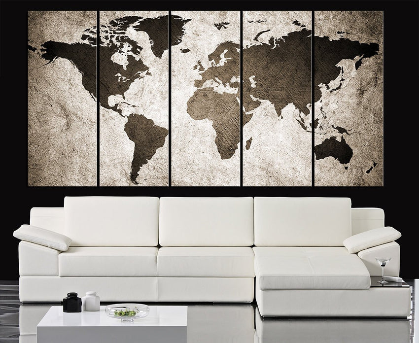 Retro WORLD MAP Canvas Print Art Drawing on Old Wall - Watercolor World Map 5 Piece Canvas Art Print - Ready to Hang - Colorful World Map - MC121-Wall Art Canvas-Extra Large Wall Art Canvas Print-Extra Large Wall Art Canvas Print