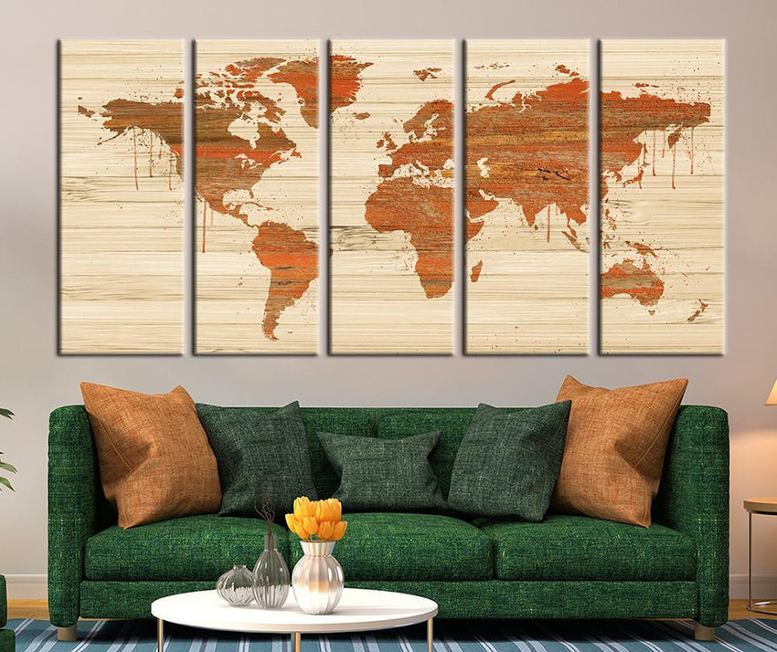 Rustic World Map Art Canvas Print, Rustic World Map Canvas Art Panel No:011-Wall Art Canvas-Extra Large Wall Art Canvas Print-Extra Large Wall Art Canvas Print