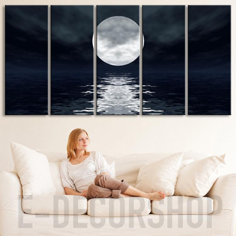 Sea Landscape With Moon Canvas Print Framed 5 Panel Canvas-Extra Large Wall Art Canvas Print