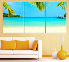 Sea View and Palms Large Wall Art Canvas Print - Blue Tropical Beach Large Wall Art Sea Seasccape Art Print - Canvas Large Wall Art Print-Extra Large Wall Art Canvas Print