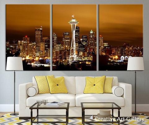 Seattle Night City Canvas Print - Seattle City Panorama City View Art Print - Black and White Seattle Canvas Print, Grayscale City Print-Wall Art Canvas-Extra Large Wall Art Canvas Print-Extra Large Wall Art Canvas Print