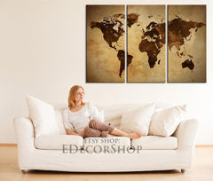 Sephia Colour Vintage WORLD MAP Canvas Print - 3 Panel Canvas Art Print - Ready to Hang - Retro World Map-Wall Art Canvas-Extra Large Wall Art Canvas Print-Extra Large Wall Art Canvas Print