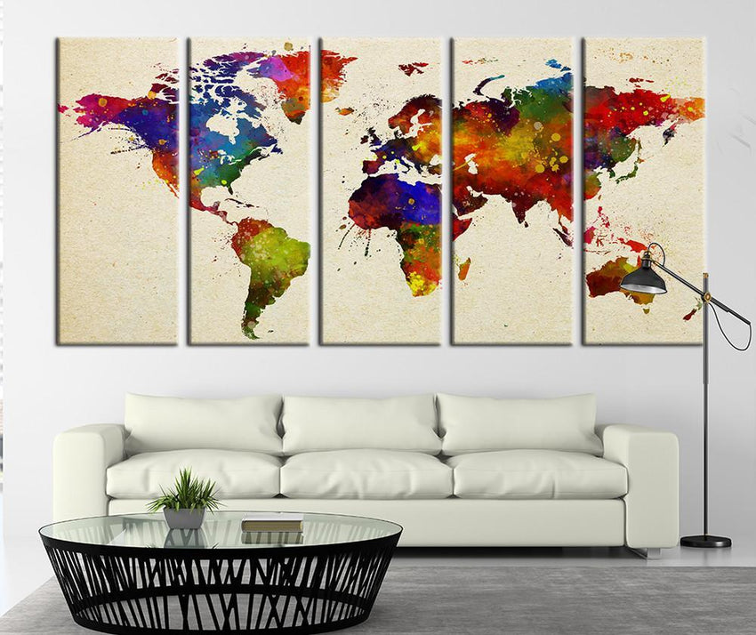 Splash Watercolor World Map Canvas Art Print, Splash World Map Art Print No:033-Wall Art Canvas-Extra Large Wall Art Canvas Print-Extra Large Wall Art Canvas Print
