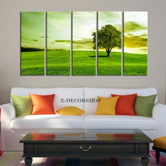"Spring and Green Trees Canvas Print 60"" x 32"" Canvas Art Prints For Wall - Green Trees Large Art Canvas Printing - Wall Art Canvas-Wall Art Canvas-Extra Large Wall Art Canvas Print-Extra Large Wall Art Canvas Print"