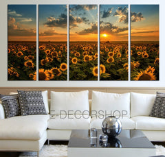 Sunflower Field Canvas Print XL Canvas Art Prints For Wall - Helianthus Large Art Canvas Printing - Wall Art Canvas - MC139-Wall Art Canvas-Extra Large Wall Art Canvas Print-Extra Large Wall Art Canvas Print