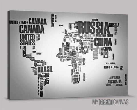 Typography Gray and Black World Map Large Wall Art Canvas Prints | Wall Art Map Canvas | Type World Map Canvas Painting-Wall Art Canvas-Extra Large Wall Art Canvas Print-Extra Large Wall Art Canvas Print