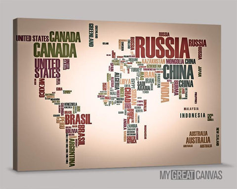 Typography World Map Canvas Prints | Wall Art Map Canvas | Type World Map Canvas Painting-Wall Art Canvas-Extra Large Wall Art Canvas Print-Extra Large Wall Art Canvas Print