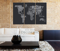Typography World Map - Large Wall Art World Map Canvas Print Ready to Hang 3 Panels Stretched on Deep 3cm Frame-Wall Art Canvas-Extra Large Wall Art Canvas Print-Extra Large Wall Art Canvas Print
