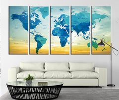 Typographyic World Map with Sundown Canvas Art Print, Country Name World Map Art Print No:012-Wall Art Canvas-Extra Large Wall Art Canvas Print-Extra Large Wall Art Canvas Print