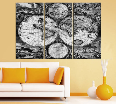 Vintage Old Style World Map - Old World Map Canvas Print - Large Map Art Canvas Print-Wall Art Canvas-Extra Large Wall Art Canvas Print-Extra Large Wall Art Canvas Print