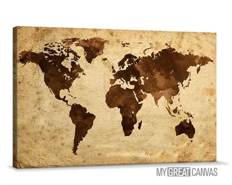 Vintage One Panel WORLD MAP Canvas Print - XX Large World Map 5 Piece  Canvas Art Print - Brown and Cream World Map
