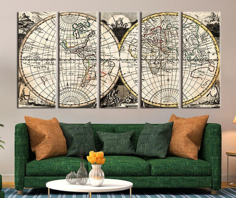 Vintage Watercolor World Map Canvas Art, Vintage World Map Art Print No:091-Wall Art Canvas-Extra Large Wall Art Canvas Print-Extra Large Wall Art Canvas Print