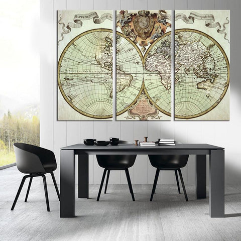 Vintage World Map Art Canvas Print, Large World Map Wall Art, Retro Old World Map Canvas Print, World Map Wall Art-Wall Art Canvas-Extra Large Wall Art Canvas Print-Extra Large Wall Art Canvas Print