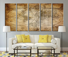 Vintage World Map Canvas Art Print, Grunge Wall Art No:084-Wall Art Canvas-Extra Large Wall Art Canvas Print-Extra Large Wall Art Canvas Print