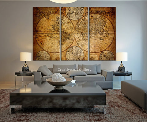 Vintage World Map Canvas Art Prints- Rustic World Map Art Canvas Print, Vintage Old World Map Canvas Print, World Map Wall Art-Wall Art Canvas-Extra Large Wall Art Canvas Print-Extra Large Wall Art Canvas Print