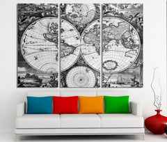 Vintage World Map Canvas Print - For Interior Design, Home and Office Design, Large World Map Wall Art - XX Large Map Canvas Print-Wall Art Canvas-Extra Large Wall Art Canvas Print-Extra Large Wall Art Canvas Print