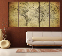 Vintage WORLD MAP Canvas Print on Old World - Old World Map 5 Piece Canvas Art Print - For Home and Office Decoration Wall Art - Art Print - MC79-Wall Art Canvas-Extra Large Wall Art Canvas Print-Extra Large Wall Art Canvas Print