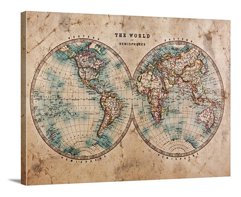 Vintage World Map Large Wall Art Print - Wall Art Framed Grunge World Map Canvas Print - Retro World Map Large Canvas Print-Wall Art Canvas-Extra Large Wall Art Canvas Print-Extra Large Wall Art Canvas Print