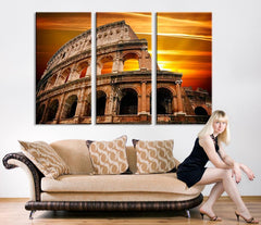 Wall Art Canvas Print Colosseum Sunset - Rome Colosseum Canvas Art - Italy Colosseum Canvas Print-Wall Art Canvas-Extra Large Wall Art Canvas Print-Extra Large Wall Art Canvas Print